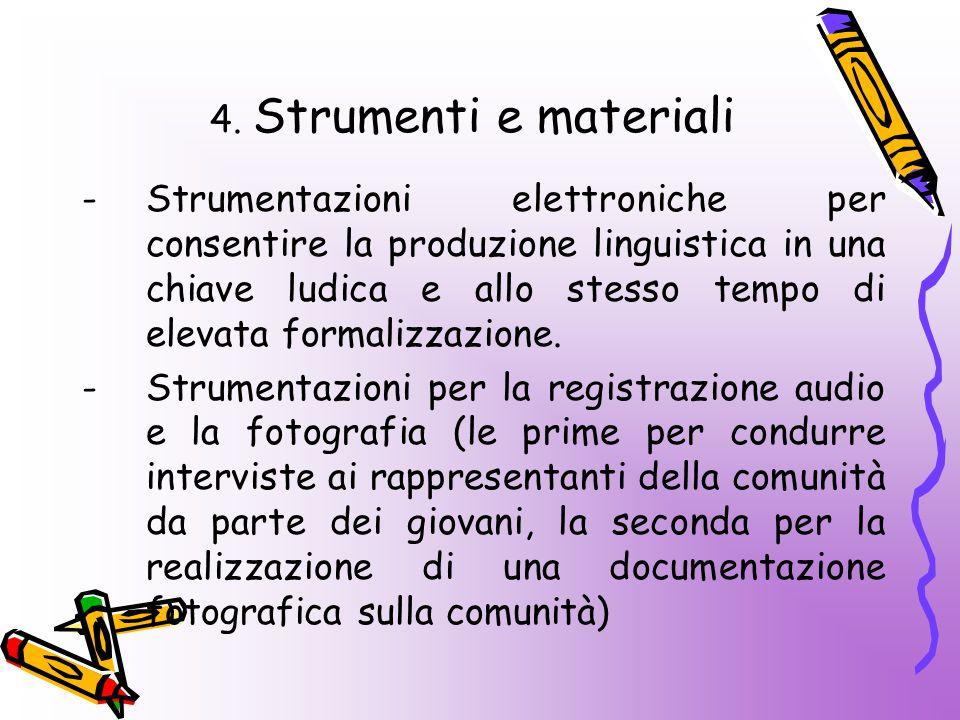 4. Strumenti e materiali -Strumentazioni elettroniche per consentire la produzione linguistica in una chiave ludica e allo stesso tempo di elevata for