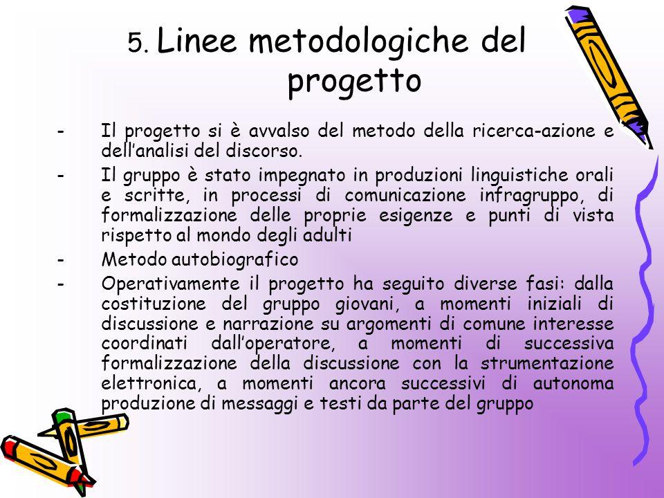 5. Linee metodologiche del progetto -Il progetto si è avvalso del metodo della ricerca-azione e dell'analisi del discorso. -Il gruppo è stato impegnat