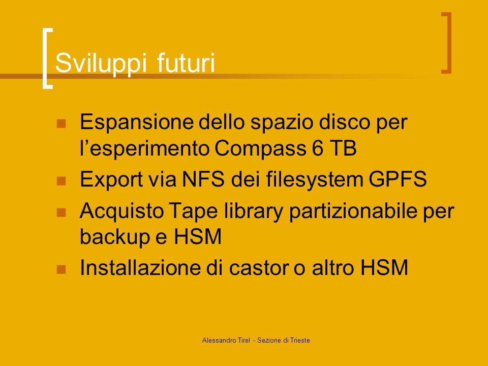 Alessandro Tirel - Sezione di Trieste Sviluppi futuri Espansione dello spazio disco per l'esperimento Compass 6 TB Export via NFS dei filesystem GPFS Acquisto Tape library partizionabile per backup e HSM Installazione di castor o altro HSM