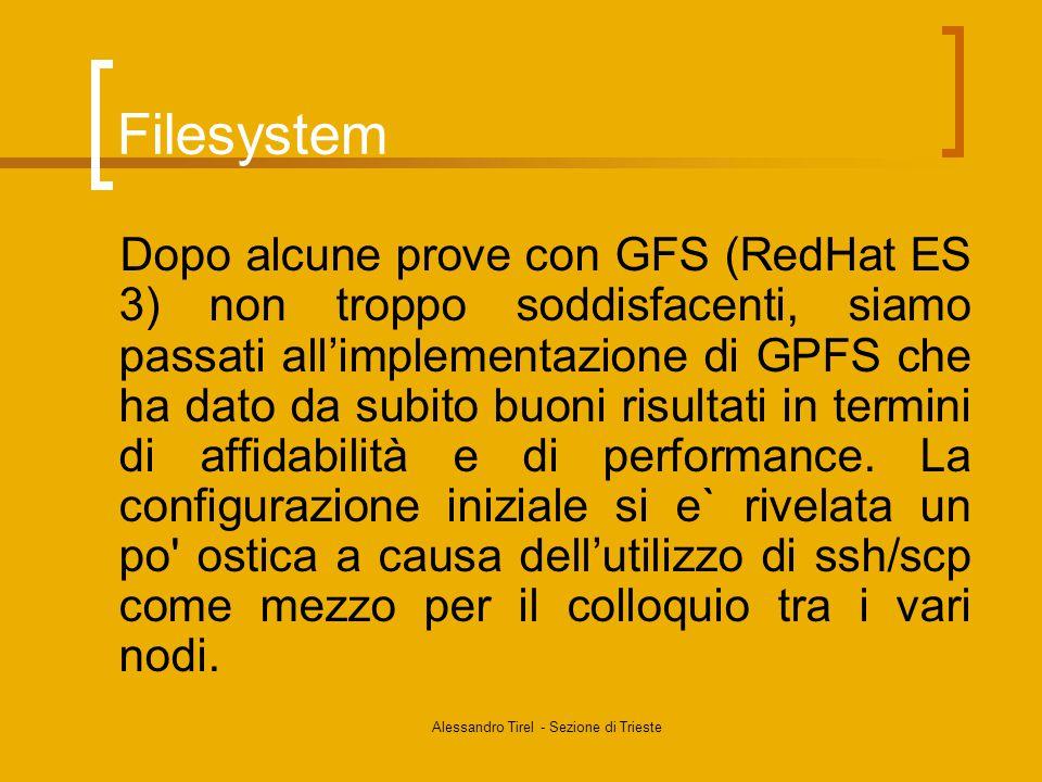 Alessandro Tirel - Sezione di Trieste Filesystem Dopo alcune prove con GFS (RedHat ES 3) non troppo soddisfacenti, siamo passati all'implementazione di GPFS che ha dato da subito buoni risultati in termini di affidabilità e di performance.