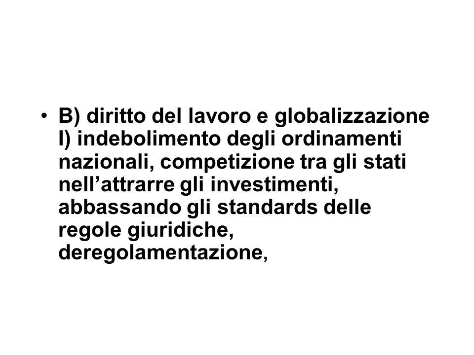 B) diritto del lavoro e globalizzazione I) indebolimento degli ordinamenti nazionali, competizione tra gli stati nell'attrarre gli investimenti, abbassando gli standards delle regole giuridiche, deregolamentazione,