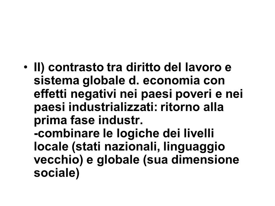 II) contrasto tra diritto del lavoro e sistema globale d.