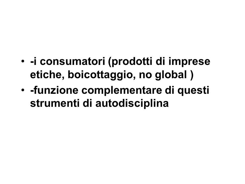-i consumatori (prodotti di imprese etiche, boicottaggio, no global ) -funzione complementare di questi strumenti di autodisciplina