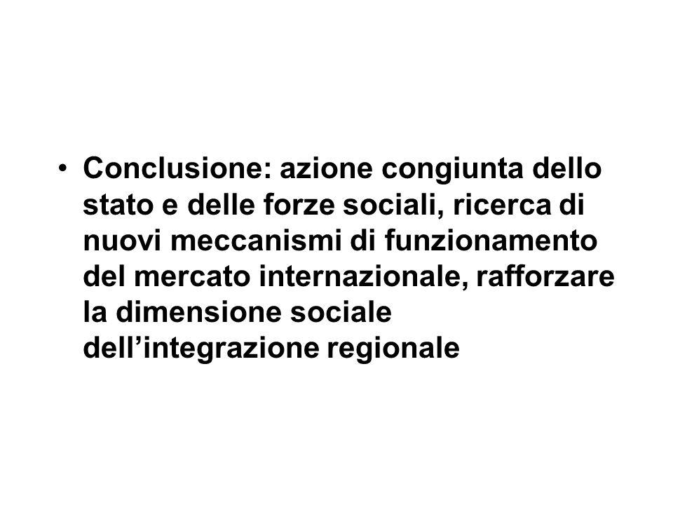 Conclusione: azione congiunta dello stato e delle forze sociali, ricerca di nuovi meccanismi di funzionamento del mercato internazionale, rafforzare la dimensione sociale dell'integrazione regionale