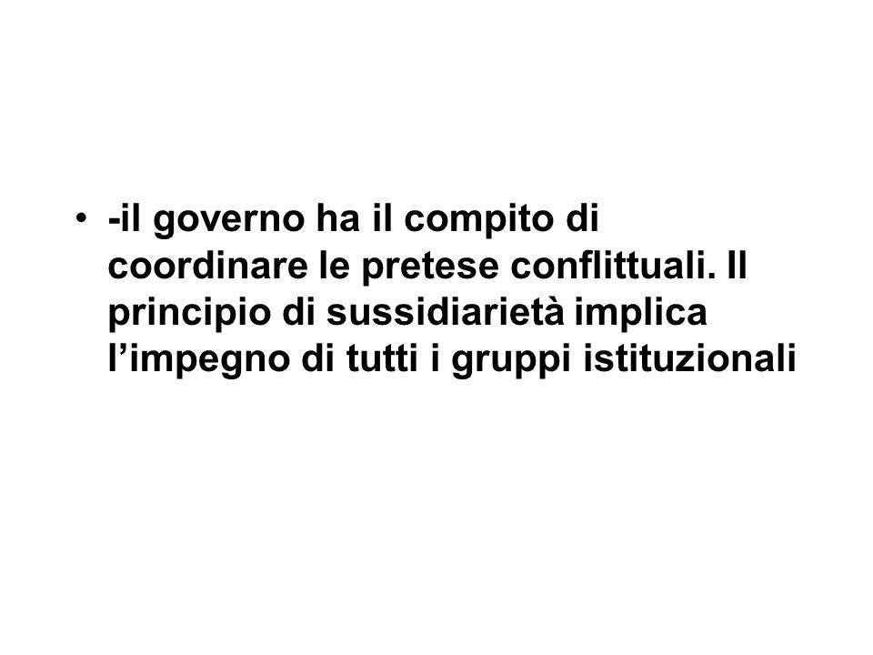 -il governo ha il compito di coordinare le pretese conflittuali.