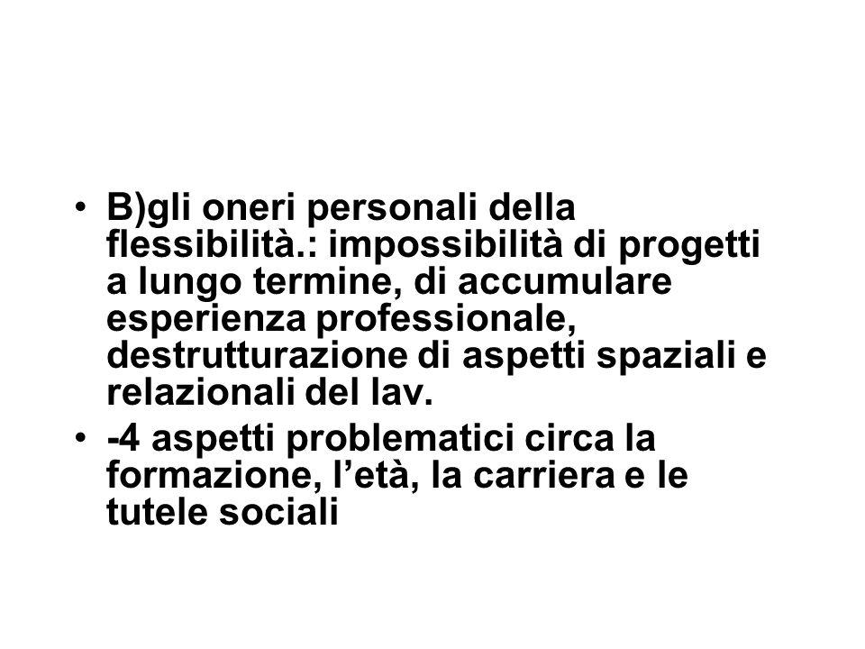 B)gli oneri personali della flessibilità.: impossibilità di progetti a lungo termine, di accumulare esperienza professionale, destrutturazione di aspetti spaziali e relazionali del lav.