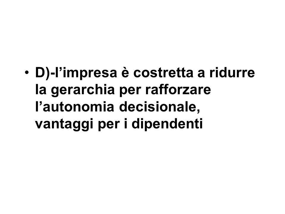 D)-l'impresa è costretta a ridurre la gerarchia per rafforzare l'autonomia decisionale, vantaggi per i dipendenti