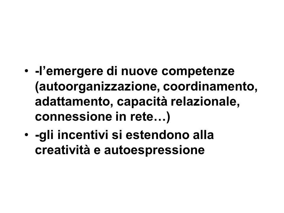 -l'emergere di nuove competenze (autoorganizzazione, coordinamento, adattamento, capacità relazionale, connessione in rete…) -gli incentivi si estendono alla creatività e autoespressione