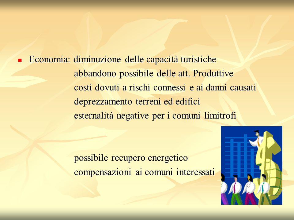 Economia: diminuzione delle capacità turistiche Economia: diminuzione delle capacità turistiche abbandono possibile delle att.