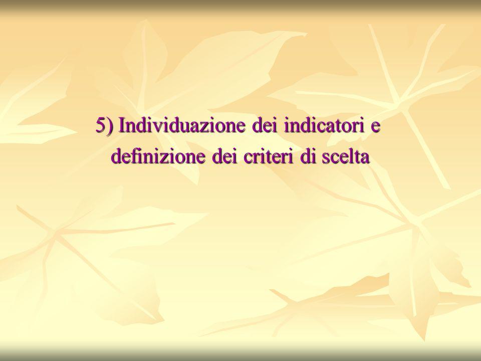 5) Individuazione dei indicatori e definizione dei criteri di scelta definizione dei criteri di scelta