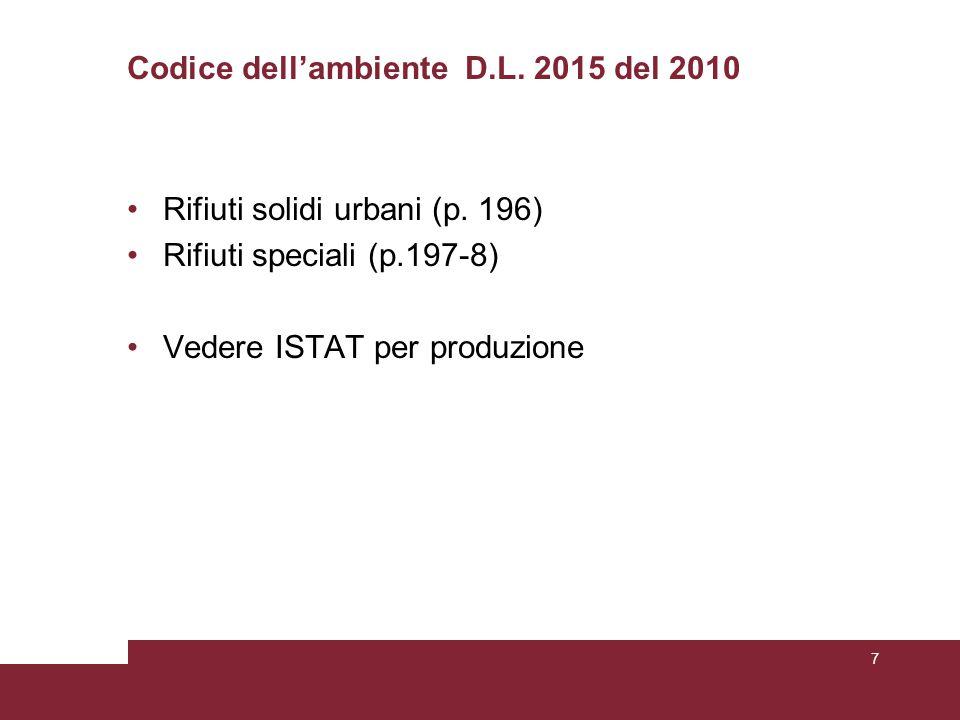 Codice dell'ambiente D.L. 2015 del 2010 Rifiuti solidi urbani (p. 196) Rifiuti speciali (p.197-8) Vedere ISTAT per produzione 7
