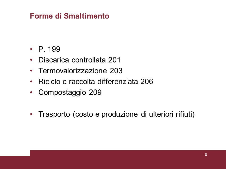 Smaltimento Raccolta differenzia Compostaggio Riciclo Termovalo- rizzazione Discarica controllata 9