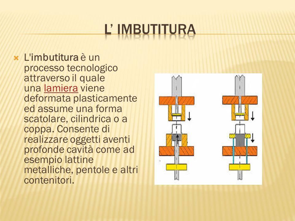  L'imbutitura è un processo tecnologico attraverso il quale una lamiera viene deformata plasticamente ed assume una forma scatolare, cilindrica o a c