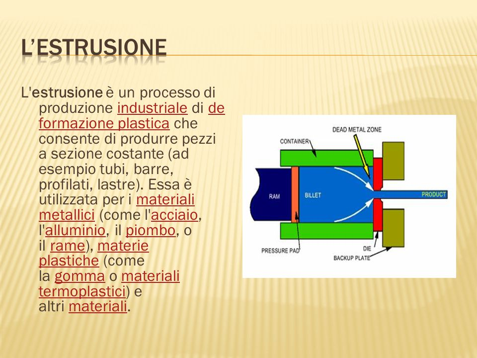 L'estrusione è un processo di produzione industriale di de formazione plastica che consente di produrre pezzi a sezione costante (ad esempio tubi, bar