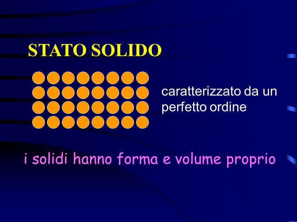 STATO SOLIDO caratterizzato da un perfetto ordine i solidi hanno forma e volume proprio