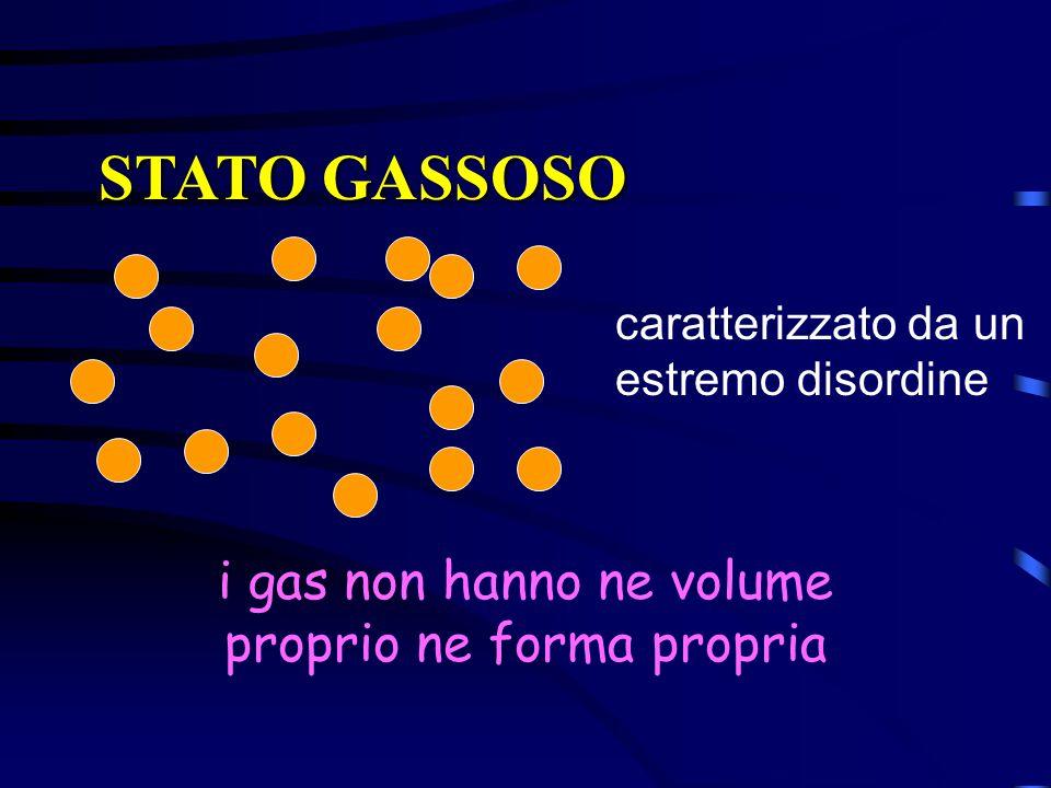 STATO GASSOSO caratterizzato da un estremo disordine i gas non hanno ne volume proprio ne forma propria
