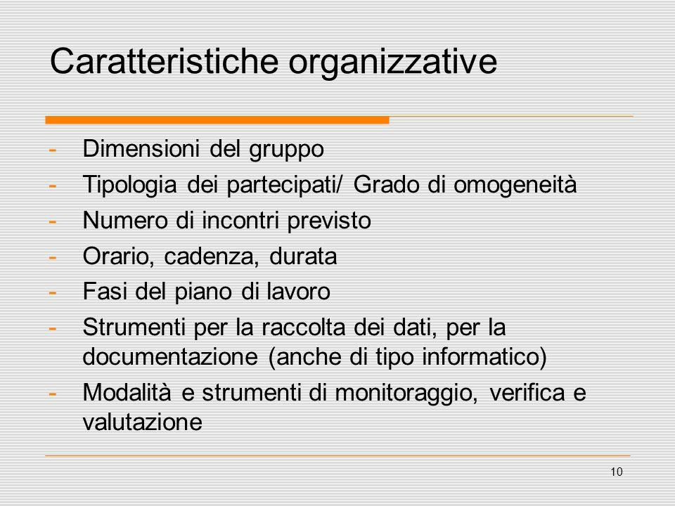 10 Caratteristiche organizzative -Dimensioni del gruppo -Tipologia dei partecipati/ Grado di omogeneità -Numero di incontri previsto -Orario, cadenza, durata -Fasi del piano di lavoro -Strumenti per la raccolta dei dati, per la documentazione (anche di tipo informatico) -Modalità e strumenti di monitoraggio, verifica e valutazione