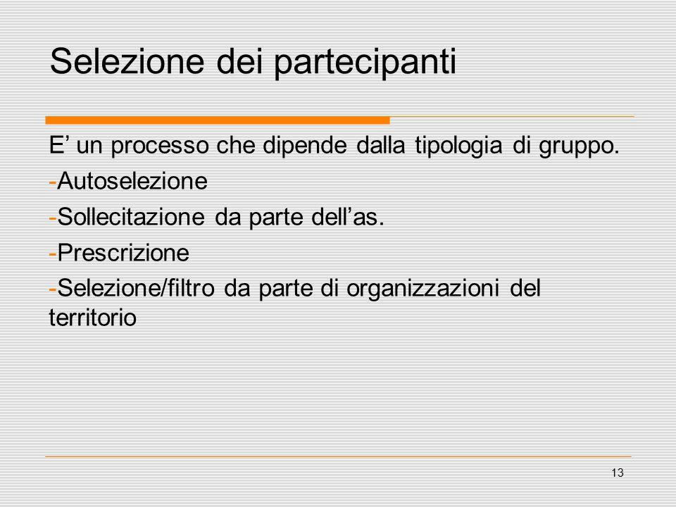 13 Selezione dei partecipanti E' un processo che dipende dalla tipologia di gruppo.