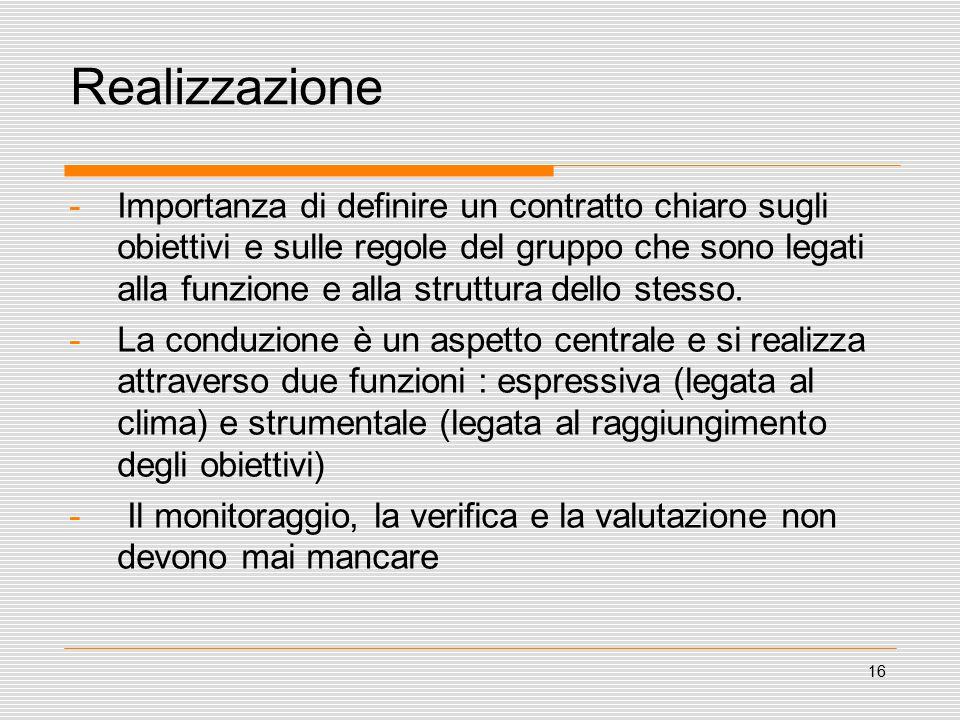 16 Realizzazione -Importanza di definire un contratto chiaro sugli obiettivi e sulle regole del gruppo che sono legati alla funzione e alla struttura dello stesso.