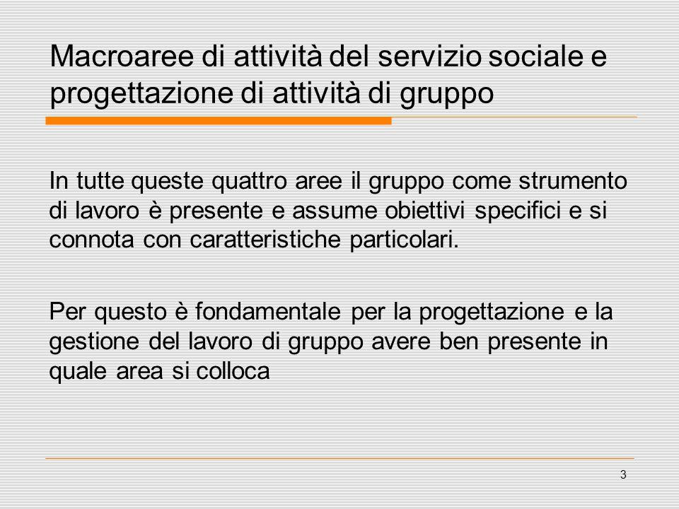 3 Macroaree di attività del servizio sociale e progettazione di attività di gruppo In tutte queste quattro aree il gruppo come strumento di lavoro è presente e assume obiettivi specifici e si connota con caratteristiche particolari.