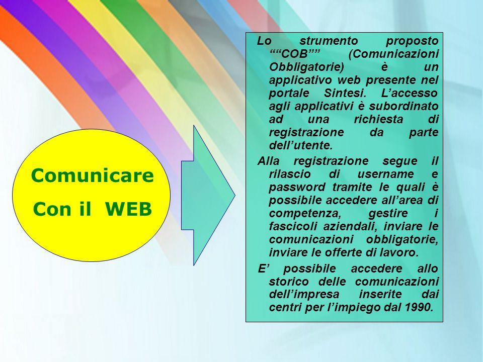 """Lo strumento proposto """"""""COB"""""""" (Comunicazioni Obbligatorie) è un applicativo web presente nel portale Sintesi. L'accesso agli applicativi è subordinato"""