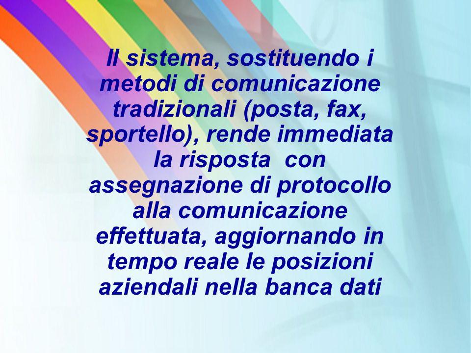 Il sistema, sostituendo i metodi di comunicazione tradizionali (posta, fax, sportello), rende immediata la risposta con assegnazione di protocollo all