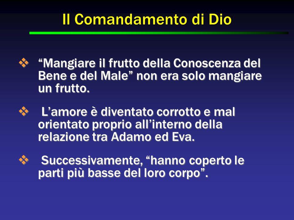 """Il Comandamento di Dio  """"Mangiare il frutto della Conoscenza del Bene e del Male"""" non era solo mangiare un frutto.  L'amore è diventato corrotto e m"""