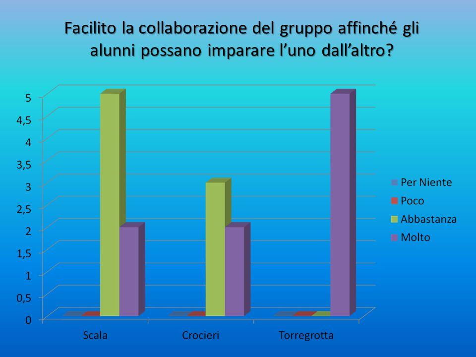 Facilito la collaborazione del gruppo affinché gli alunni possano imparare l'uno dall'altro?