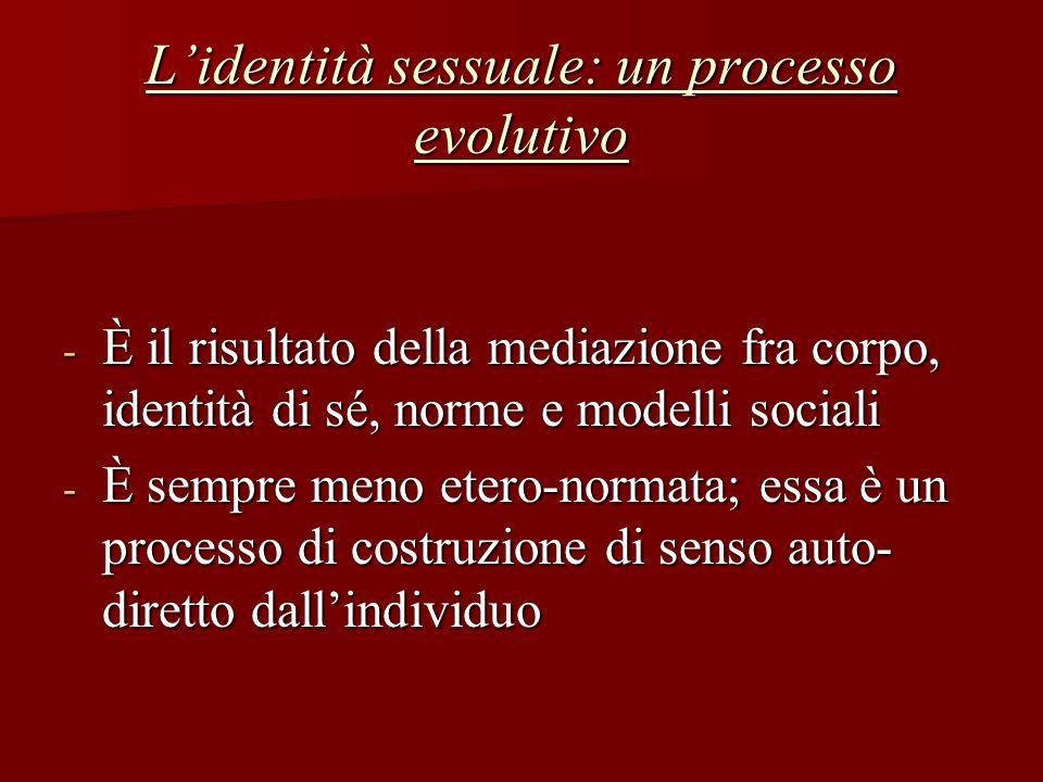 L'identità sessuale: un processo evolutivo - È il risultato della mediazione fra corpo, identità di sé, norme e modelli sociali - È sempre meno etero-