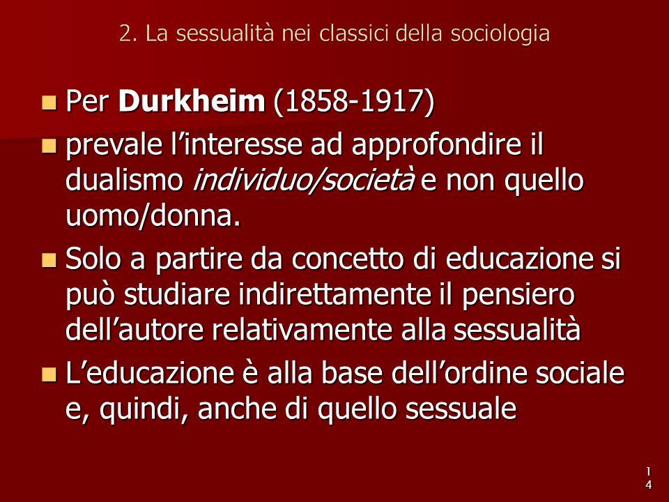 Per Durkheim (1858-1917) Per Durkheim (1858-1917) prevale l'interesse ad approfondire il dualismo individuo/società e non quello uomo/donna. prevale l