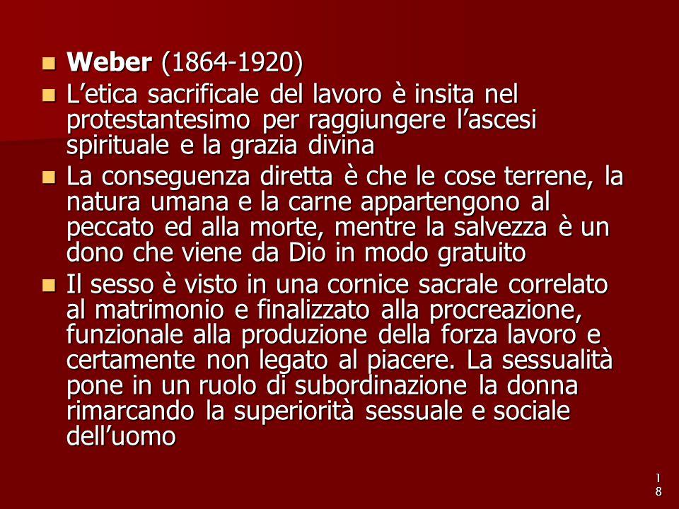 Weber (1864-1920) Weber (1864-1920) L'etica sacrificale del lavoro è insita nel protestantesimo per raggiungere l'ascesi spirituale e la grazia divina