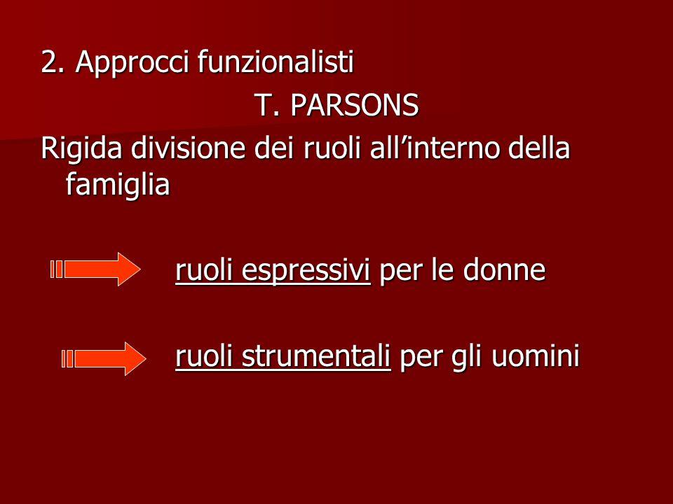 2. Approcci funzionalisti T. PARSONS Rigida divisione dei ruoli all'interno della famiglia ruoli espressivi per le donne ruoli strumentali per gli uom