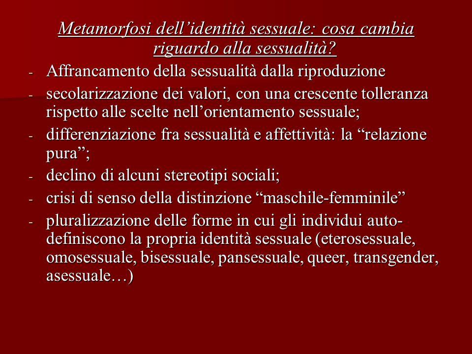 Metamorfosi dell'identità sessuale: cosa cambia riguardo alla sessualità? - Affrancamento della sessualità dalla riproduzione - secolarizzazione dei v