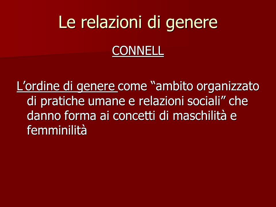 """Le relazioni di genere CONNELL L'ordine di genere come """"ambito organizzato di pratiche umane e relazioni sociali"""" che danno forma ai concetti di masch"""