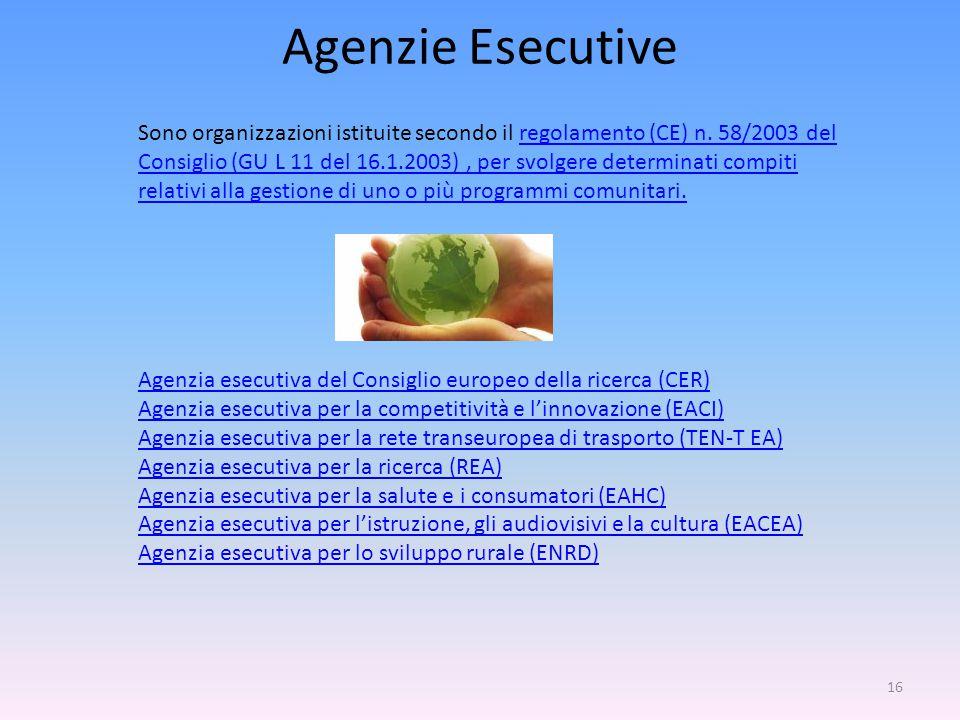 16 Agenzie Esecutive Sono organizzazioni istituite secondo il regolamento (CE) n.