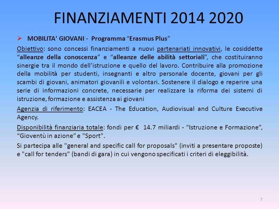 FINANZIAMENTI 2014 2020  MOBILITA GIOVANI - Programma Erasmus Plus Obiettivo: sono concessi finanziamenti a nuovi partenariati innovativi, le cosiddette alleanze della conoscenza e alleanze delle abilità settoriali , che costituiranno sinergie tra il mondo dell'istruzione e quello del lavoro.