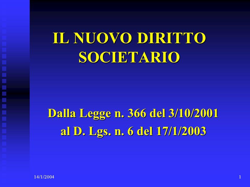 14/1/20041 IL NUOVO DIRITTO SOCIETARIO Dalla Legge n.