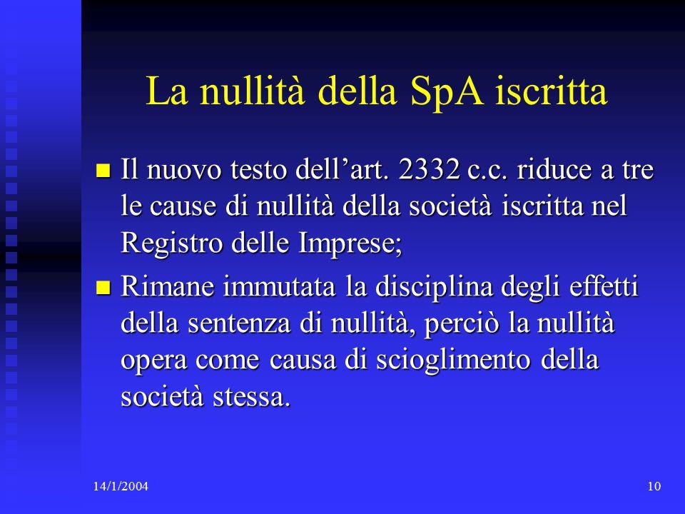 14/1/200410 La nullità della SpA iscritta Il nuovo testo dell'art.