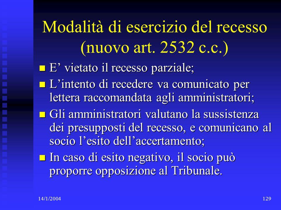 14/1/2004129 Modalità di esercizio del recesso (nuovo art.