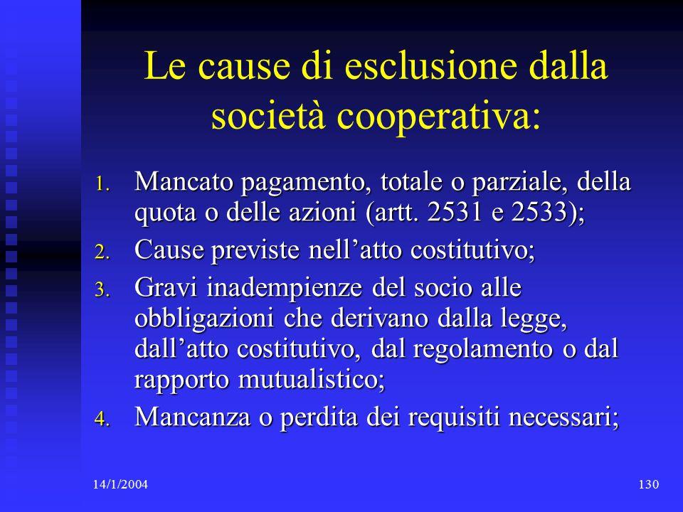 14/1/2004130 Le cause di esclusione dalla società cooperativa: 1.