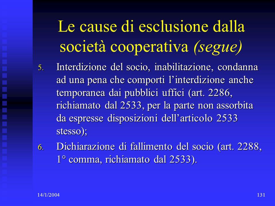 14/1/2004131 Le cause di esclusione dalla società cooperativa (segue) 5.