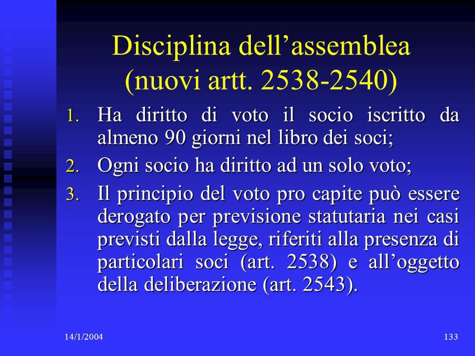 14/1/2004133 Disciplina dell'assemblea (nuovi artt.