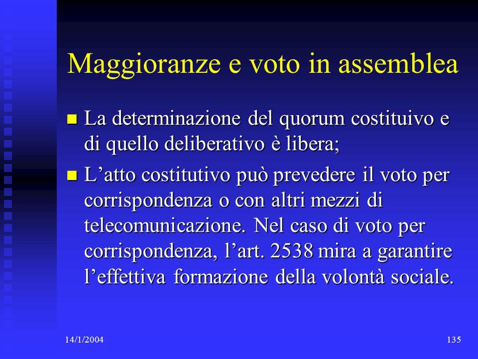 14/1/2004135 Maggioranze e voto in assemblea La determinazione del quorum costituivo e di quello deliberativo è libera; La determinazione del quorum costituivo e di quello deliberativo è libera; L'atto costitutivo può prevedere il voto per corrispondenza o con altri mezzi di telecomunicazione.