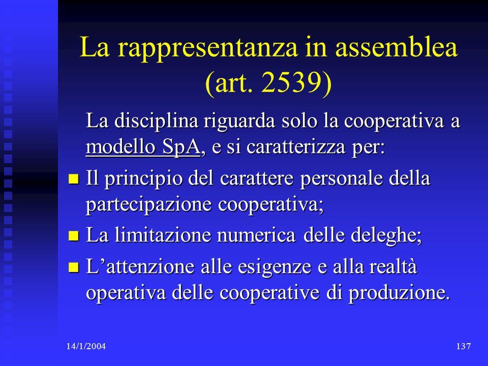14/1/2004137 La rappresentanza in assemblea (art.