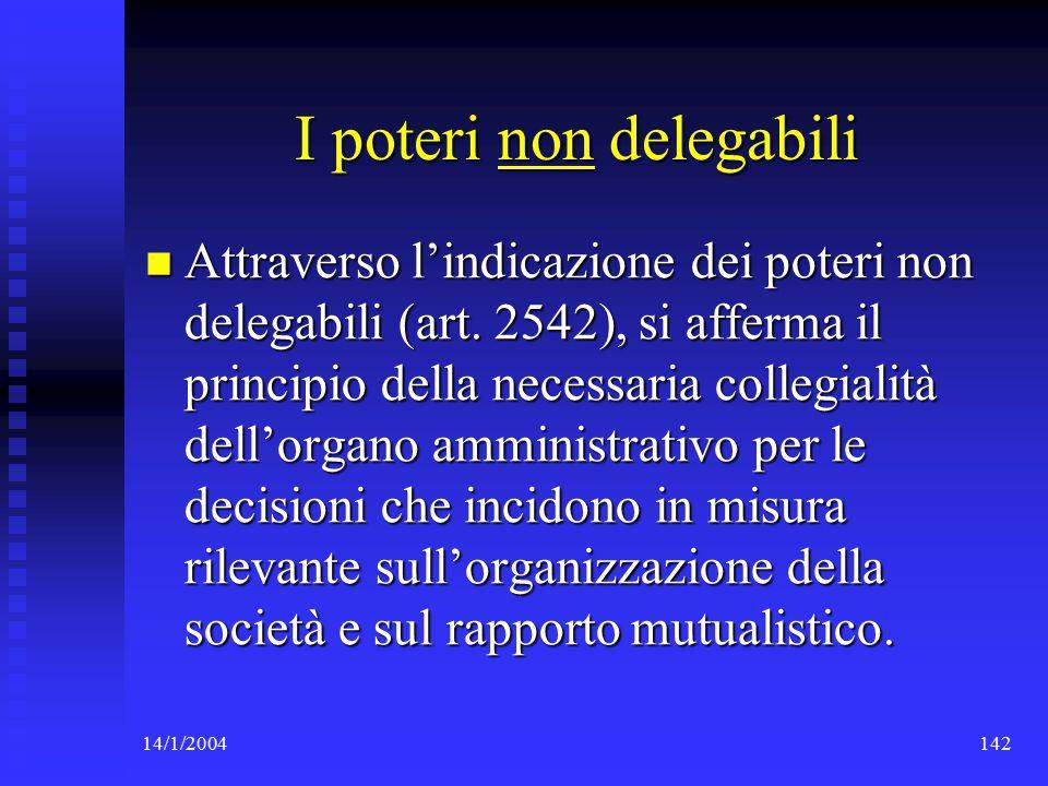 14/1/2004142 I poteri non delegabili Attraverso l'indicazione dei poteri non delegabili (art.