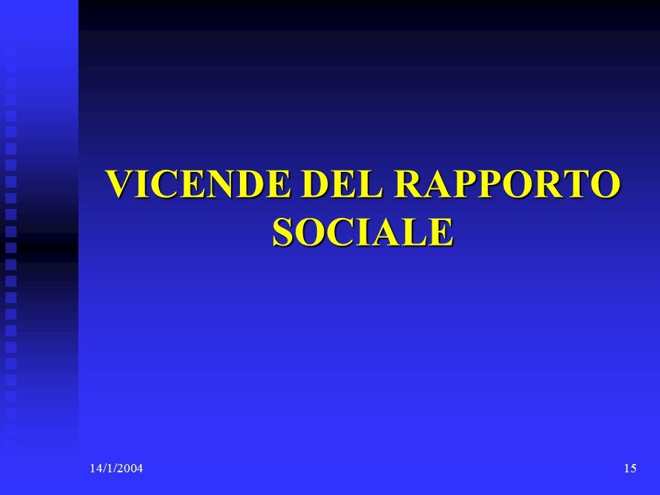 14/1/200415 VICENDE DEL RAPPORTO SOCIALE