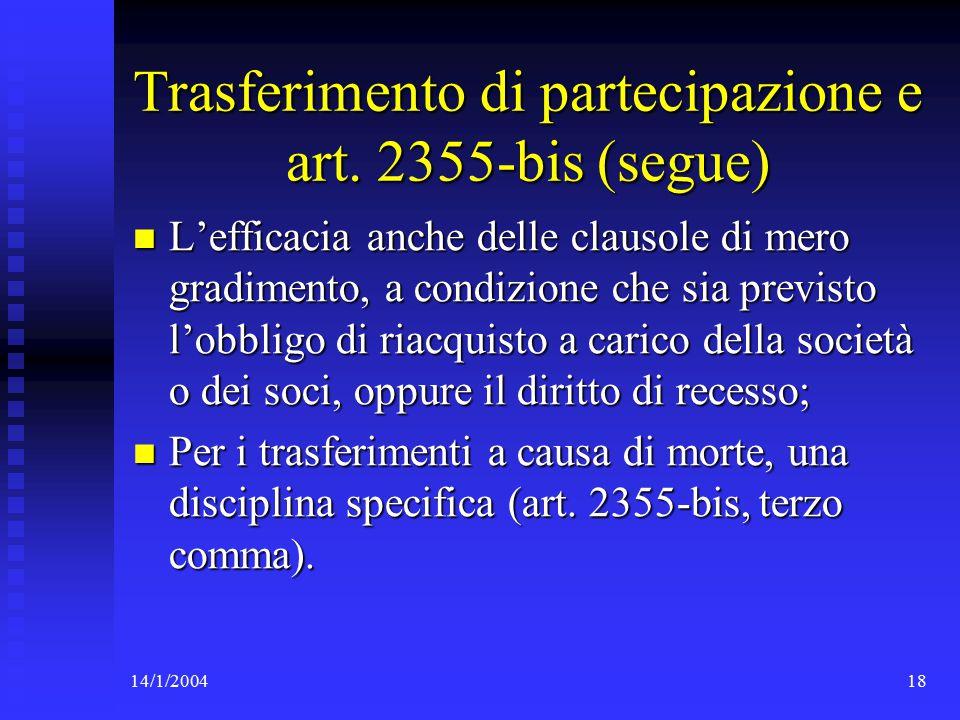 14/1/200418 Trasferimento di partecipazione e art.