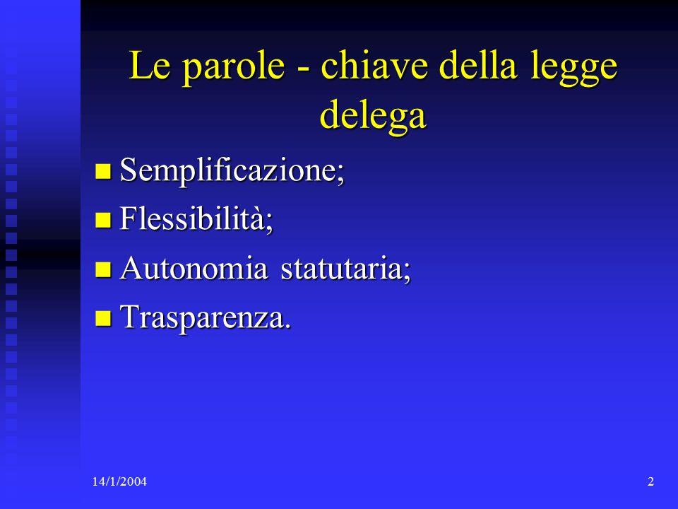 14/1/20043 La nuova disciplina della SpA nella legge delega (art.