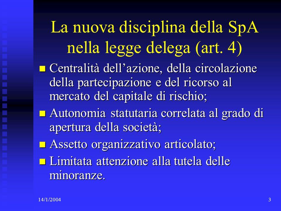14/1/200414 L'assegnazione delle azioni ai soci conferenti (art.
