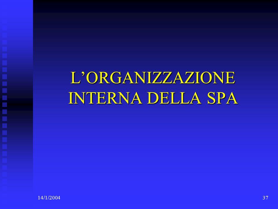 14/1/200437 L'ORGANIZZAZIONE INTERNA DELLA SPA